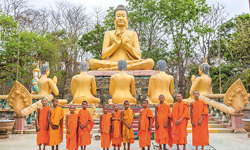 Golden Buddha and Monks